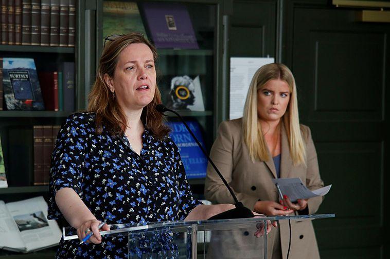 Minister of Health Svandís Svavarsdóttir, left, at the press conference. Justice Minister Áslaug Arna Sigurbjörnsdóttir …