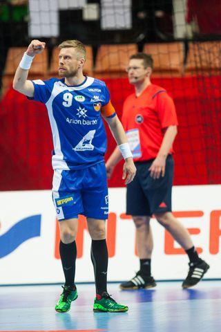 Guðjón Valur Sigurðsson einbeittur í leiknum í gær.
