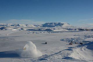 Af tökustað myndarinnar við Mývatn.