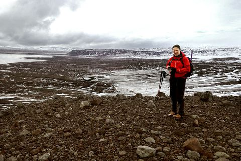 Geologist Haraldur Gunnarsson at Eystri-Hagafellsjökull, a glacier that has retreated by 700 metres in the space of one year.