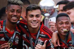 Reinier, fyrir miðju, fagnar með Flamengo.