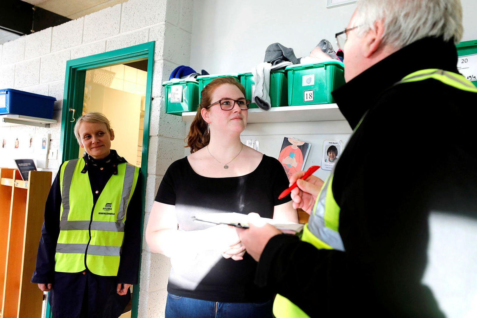 Verkfallsvarsla Eflingar í leikskólanum Seljaborg í dag.