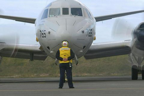 A P-3C Orion aircraft of the type that used to conduct submarine surveillance in Iceland.