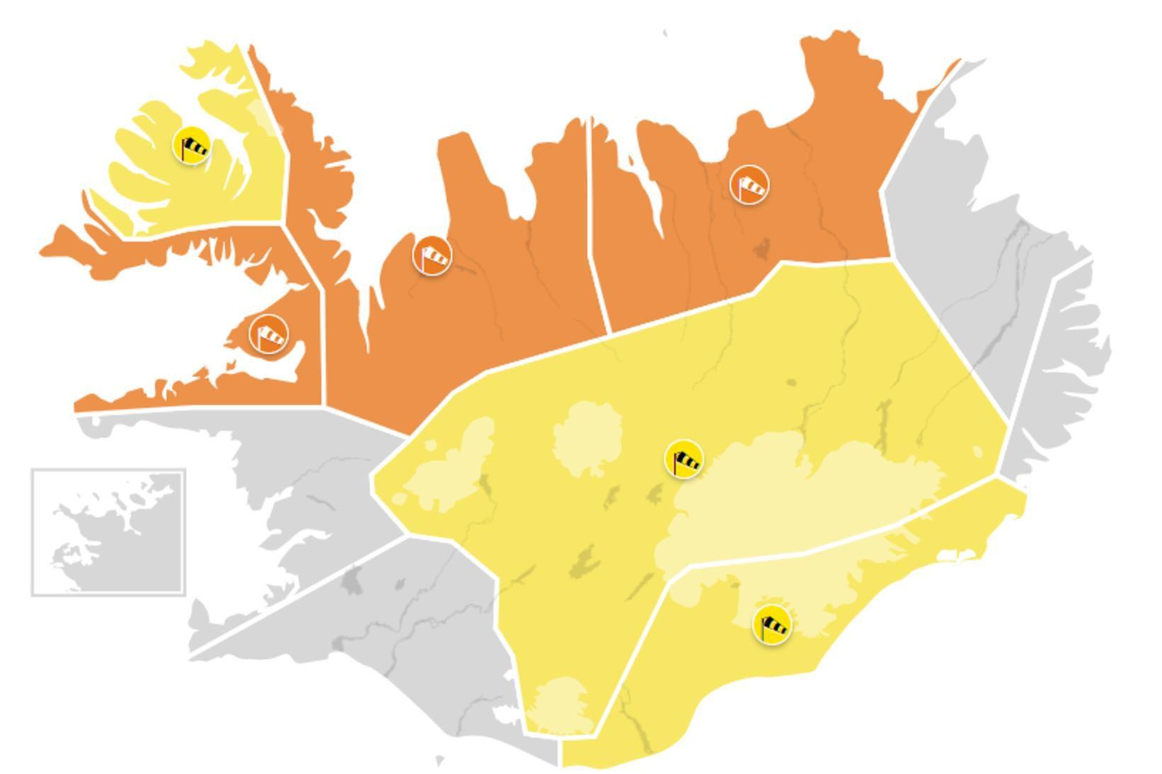 Þrjár appelsínugular viðvaranir og þrjá gular eru í gildi hjá …