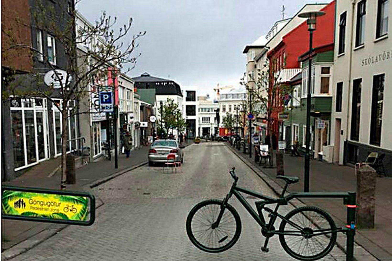 Skólavörðustígur. Lokuð gatan var nær tóm um miðjan virkan dag …