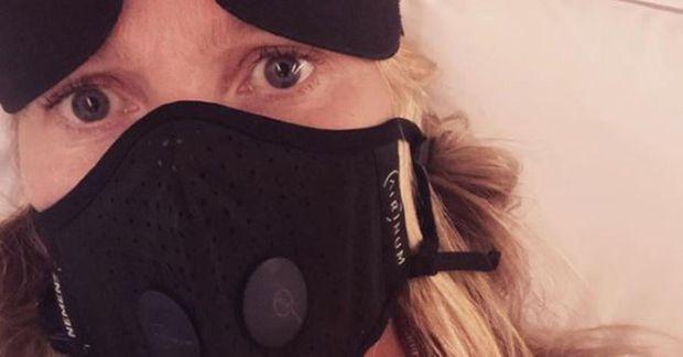 Gwyneth Paltrow var vel útbúin í flugi.