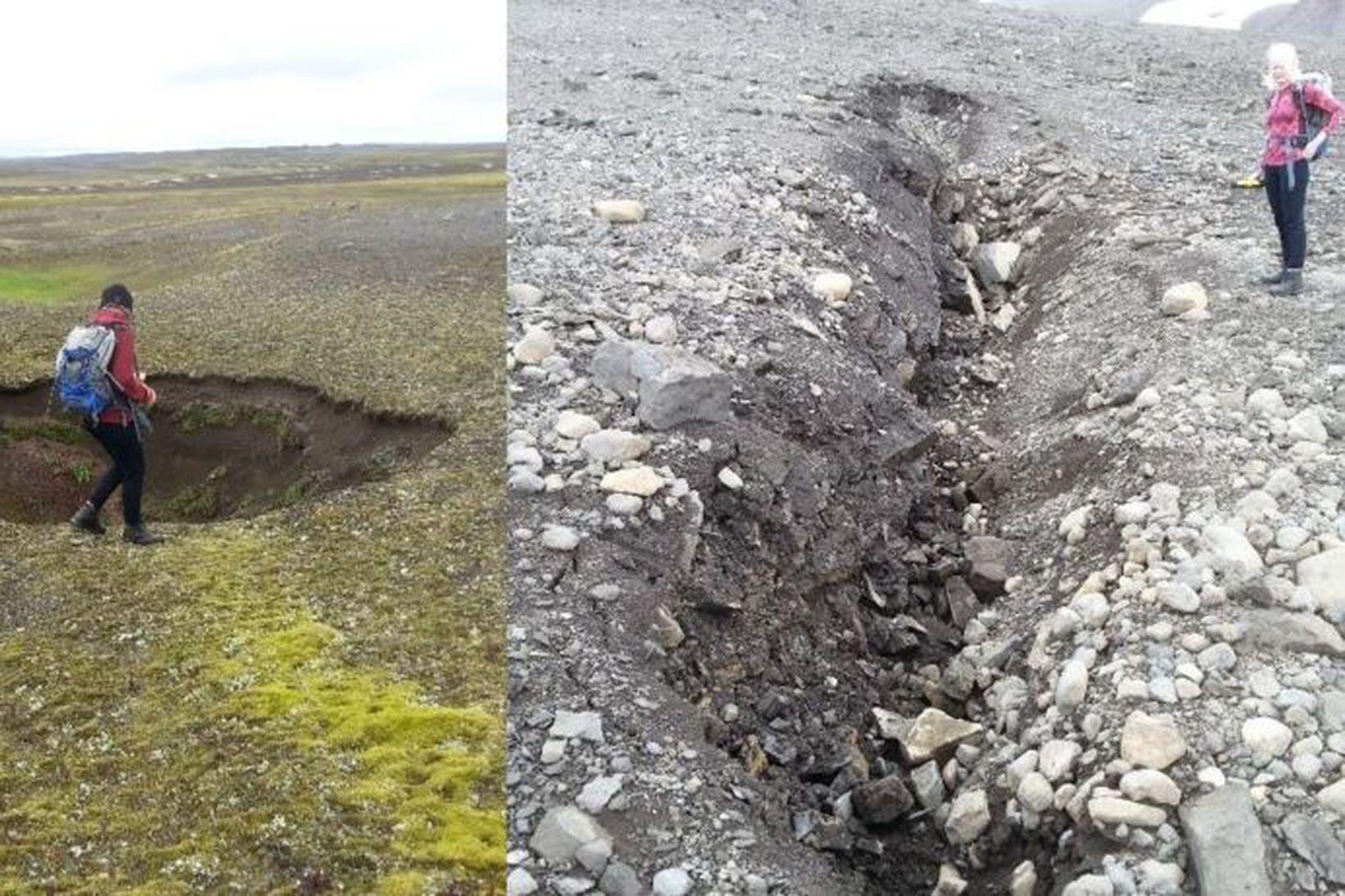 Niðurföll hafa myndast á Tungnafellsjökulssvæðinu þar sem sprungur hafa opnast …