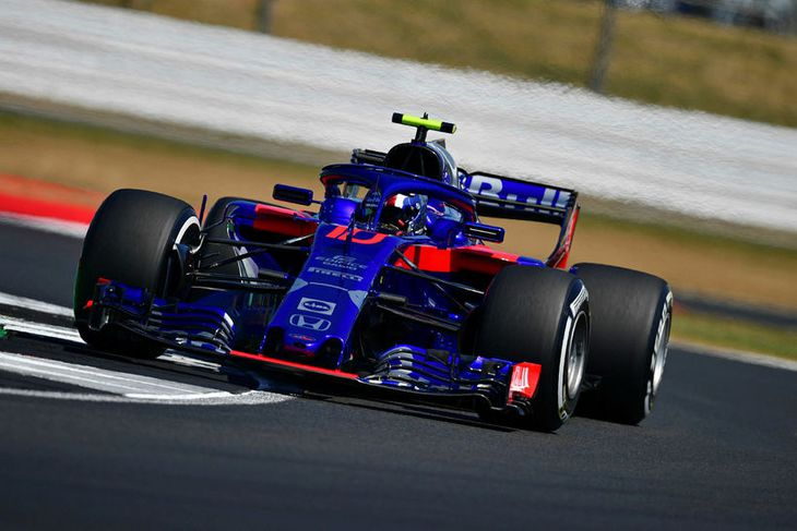 Toro Rosso's French driver Pierre Gasly drives during the second practice session at Silverstone motor ...