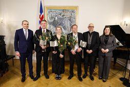Guðni Th. Jóhannesson, Eliza Reid forsetafrú og Heiðar Ingi Svansson, formaður Félags íslenskra bókaútgefanda (FÍBÚT), …