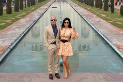 Jeff Bezos ásamt unnustu sinni Lauren Sanchez.