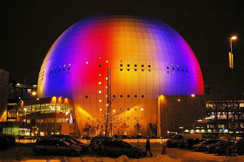 The Ericsson Globe arena in Stockholm, venue of the 2016 Eurovision Song Contest.
