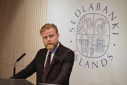 Ásgeir Jónsson seðlabankastjóri á kynningarfundi vegna vaxtaákvörðunar peningastefnunefndar Seðlabanka Íslands í morgun.