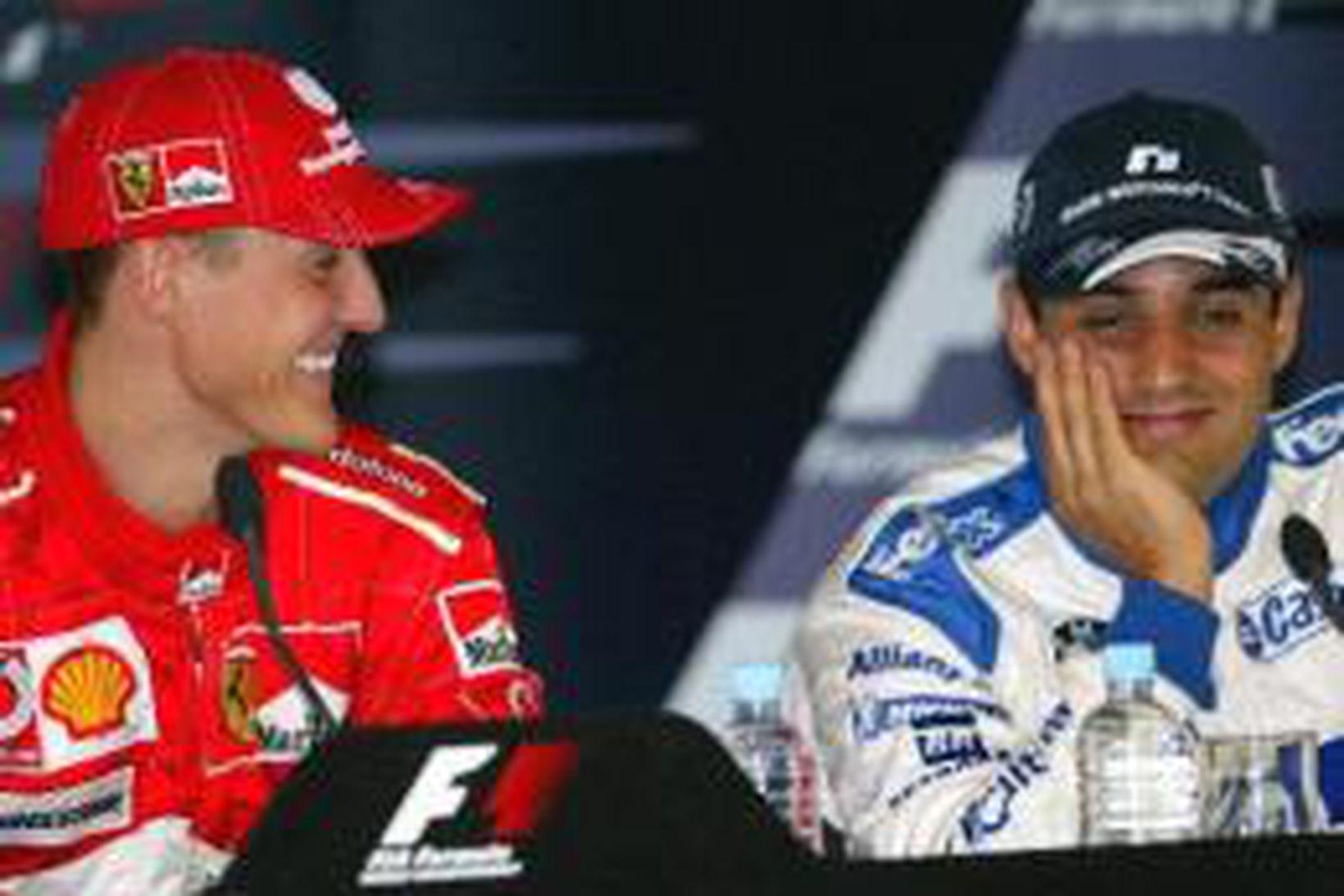 Michael Schumacher hlær að einhverju sem Juan Pablo Montoya hefur …