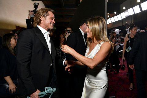 Brad Pitt og Jennifer Aniston voru innileg á Screen Actors Guild-verðlaunahátíðinni í janúar.