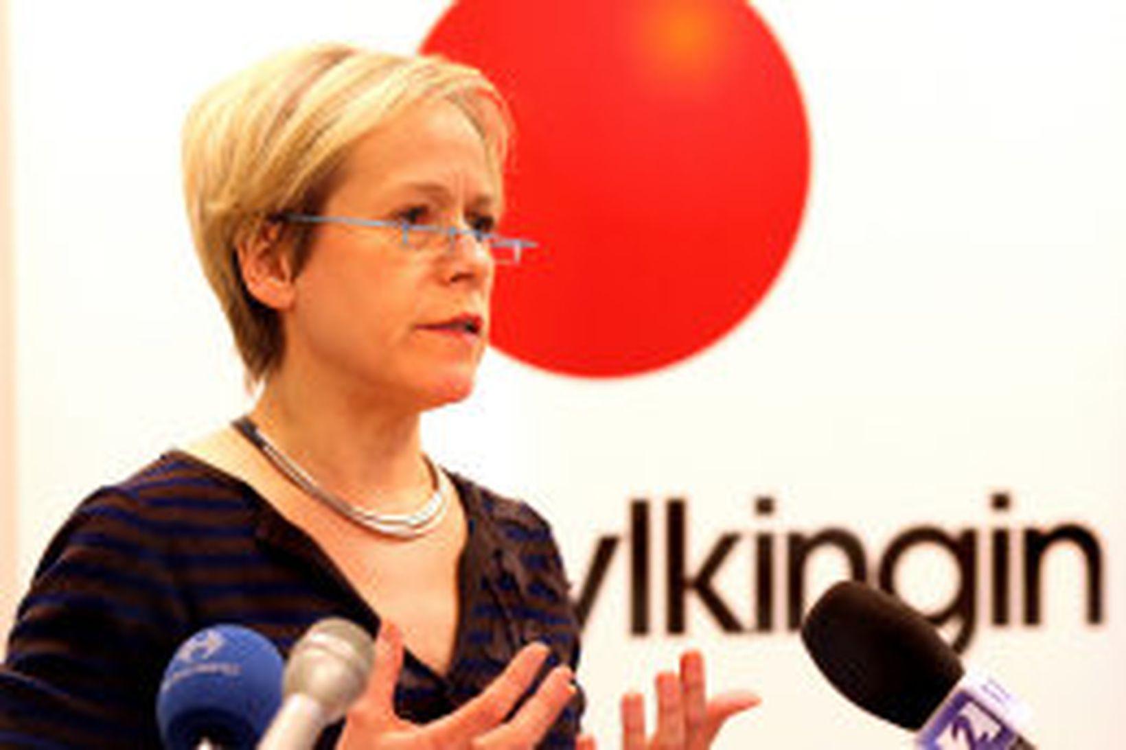 Ingibjörn Sólrún Gísladóttir flytur ræðu sína í dag.