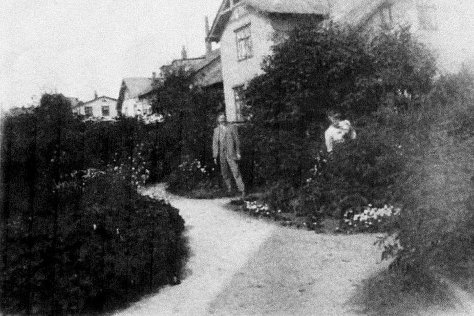 Hluti af Víkurgarði árið 1912 eða 1913. Tekin í garði ...