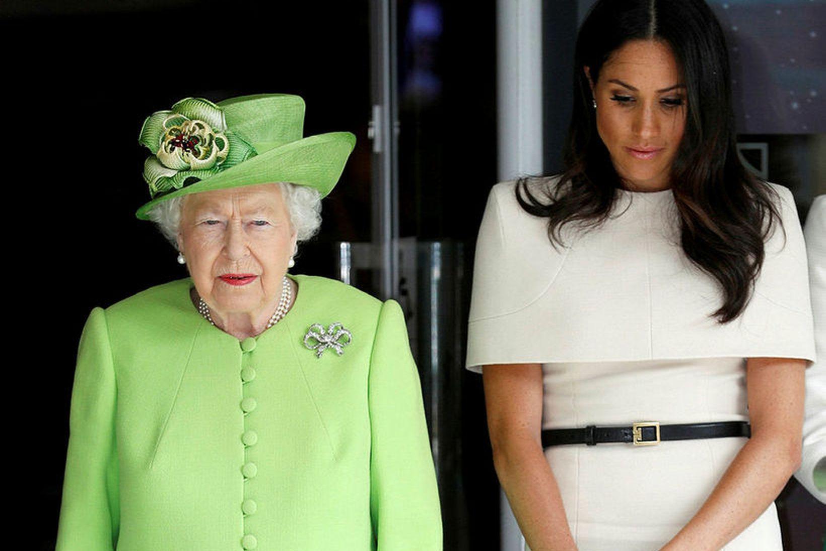 Elísabet ll Bretlandsdrottning og Meghan, hertogaynja af Sussex, kunna að …