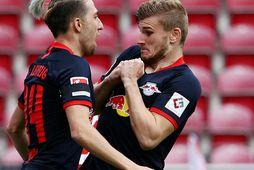 Timo Werner fagnar marki í dag en hann skoraði þrennu gegn Mainz.