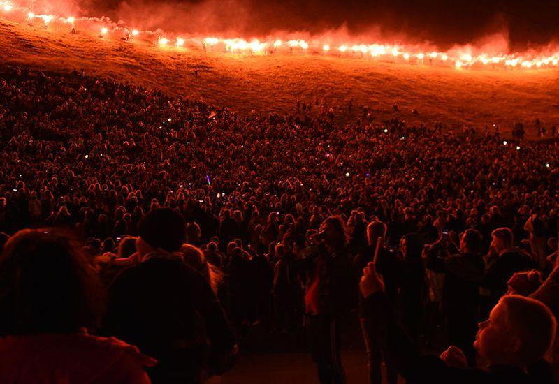 Torches were lit in Vestmannaeyjar.
