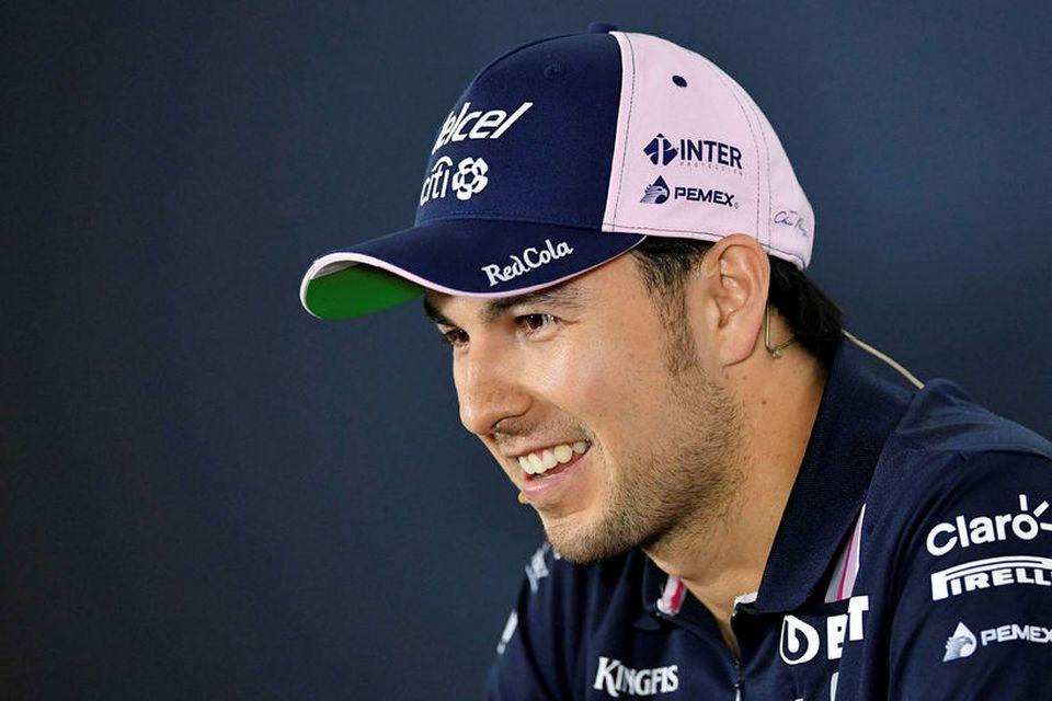 Sergio Perez á blaðamannafundi í Hockenheim fyrir viku.