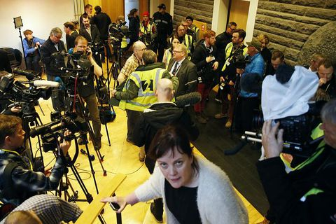 Icelandic journalists eagerly awaiting news.