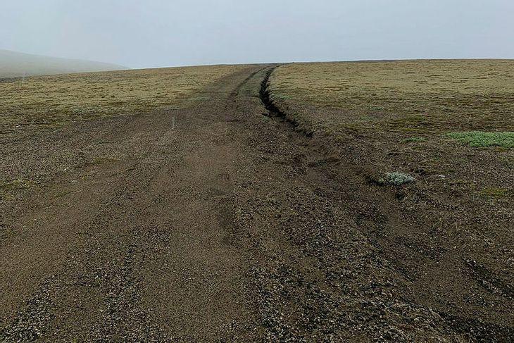 Slóði að Sauðleysuvatni.