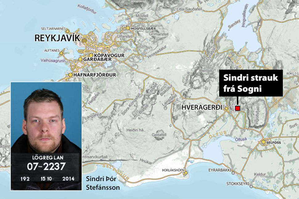 Sindri Þór Stefánsson strauk frá Sogni í nótt og fór ...