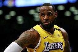 LeBron James í leik Lakers á Austurströndinni í síðustu viku en liðið lagði af stað …