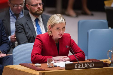 Lilja D. Alfreðsdóttir speaking at the UN.
