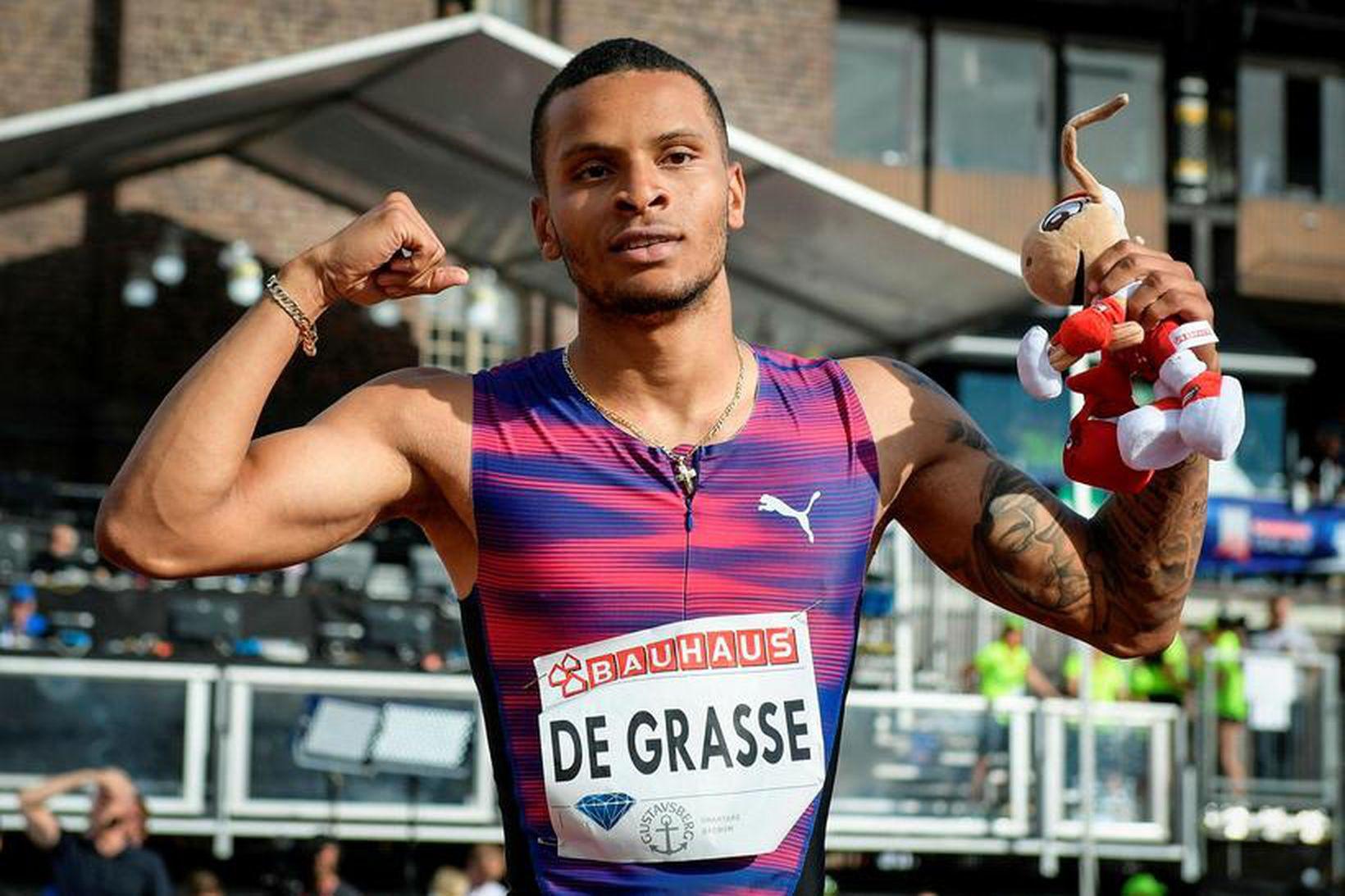 Andre De Grasse er ólympíumeistari í 200 metra hlaupi karla.