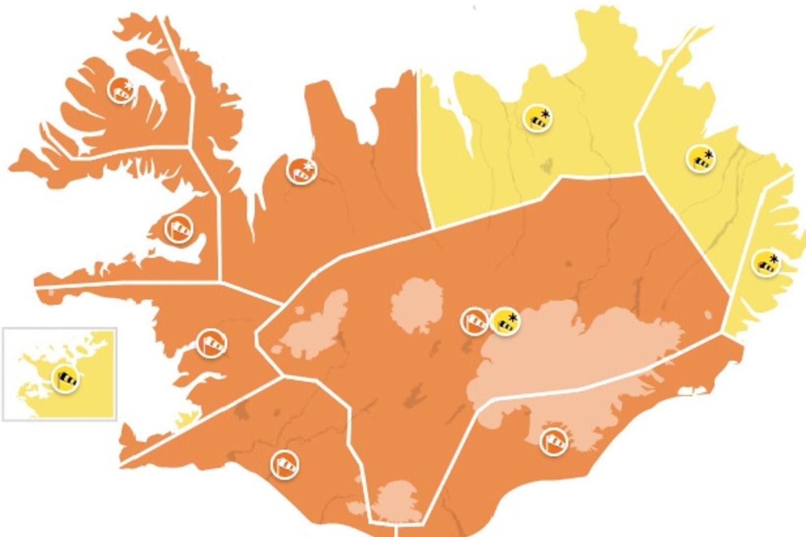 Appelsínugul viðvörun hefur verið gefin út um mestallt landið.