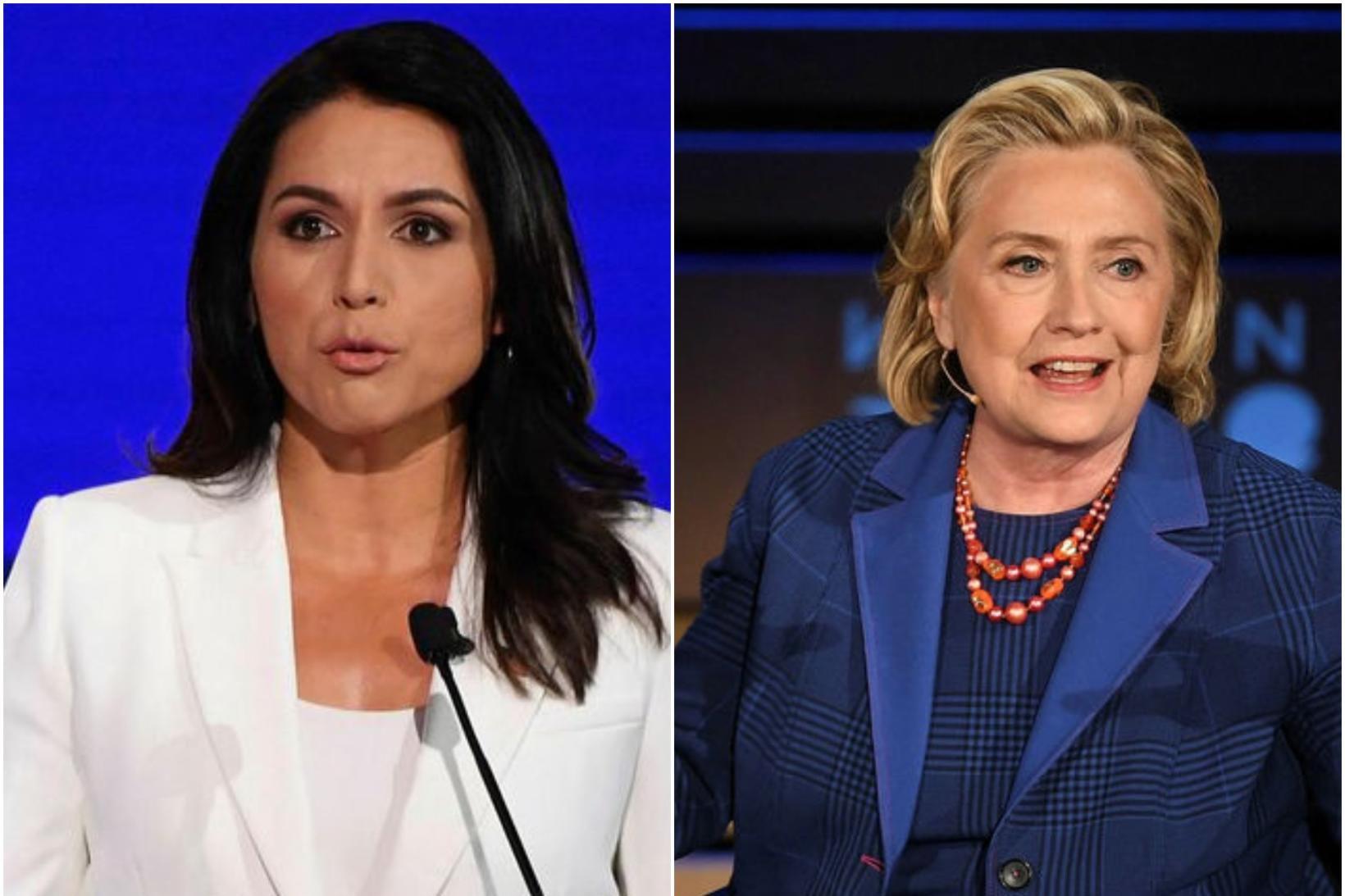 Tulsi Gabbard, frambjóðandi í forvali demókrata, og Hillary Clinton, fyrrverandi …