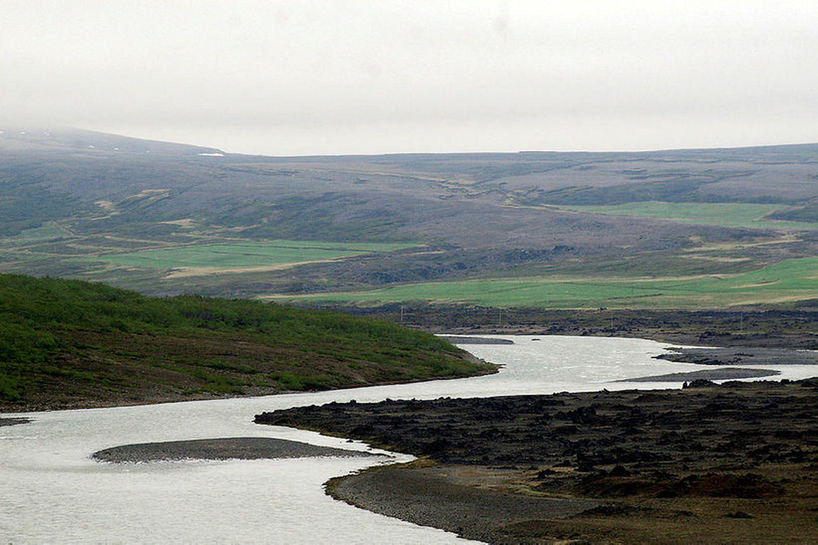 Skjálfandafljót. Myndin er tekin fremst í Bárðardal en Einbúavirkjun verður …