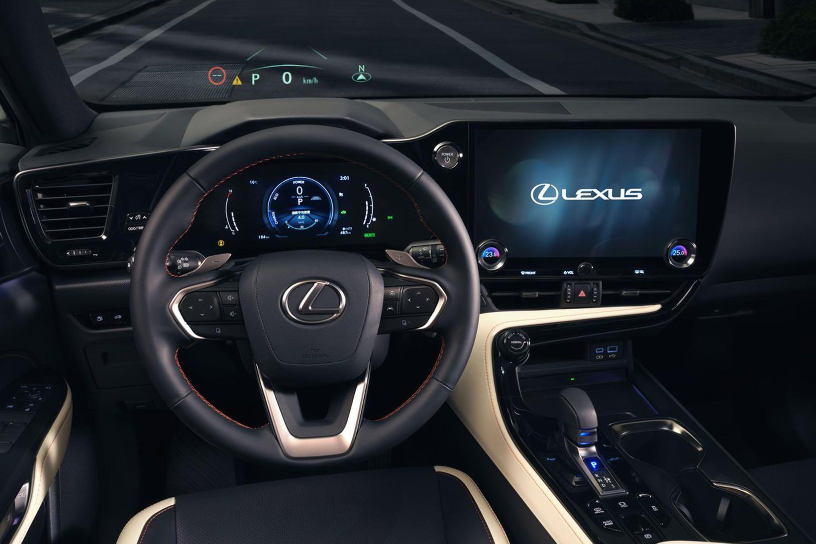 Stýrið er alvegnýtt og stóri snertiskjárinn í Lexus 350h mikil …