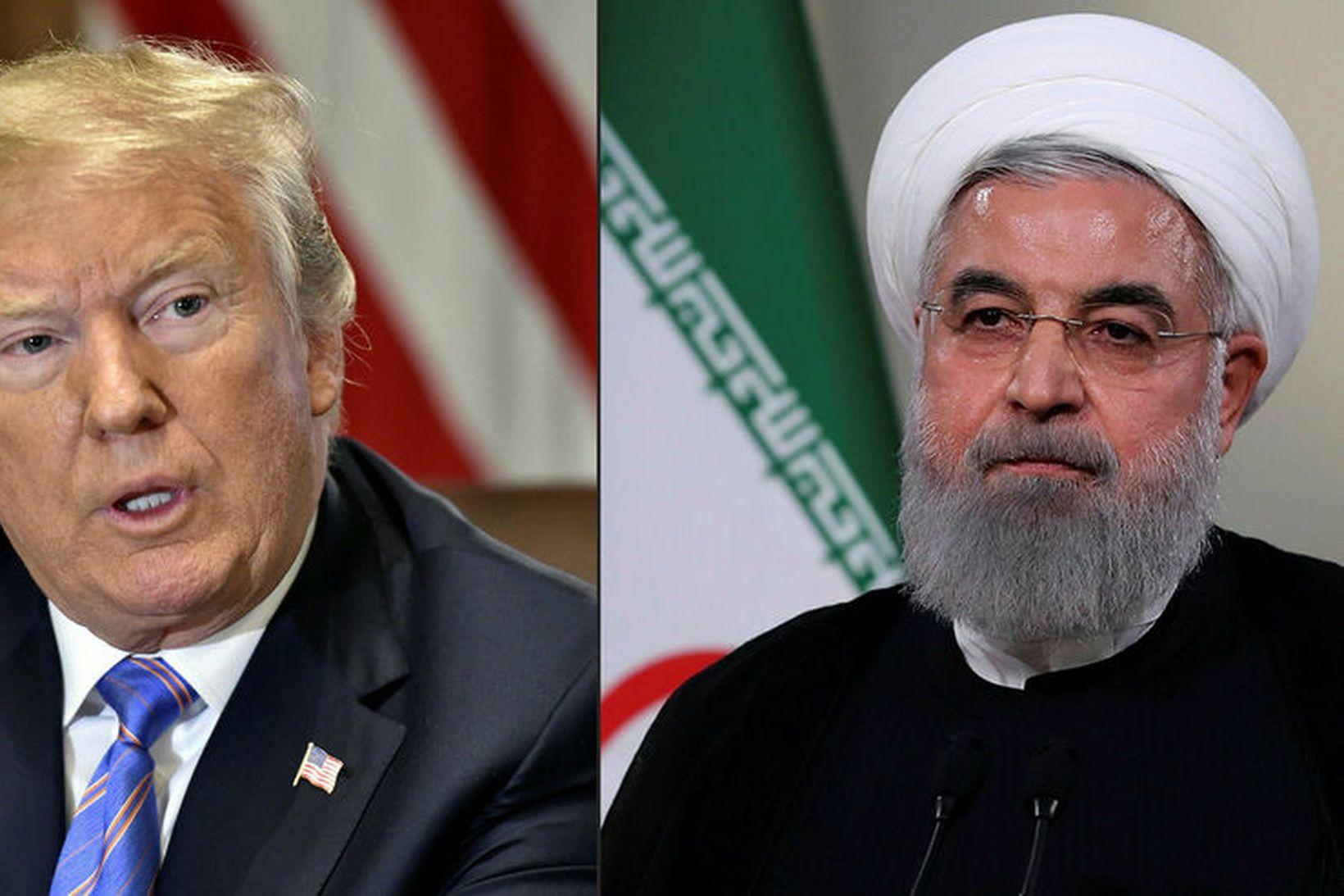 Donald Trump Bandaríkjaforseti og Hassan Rouhani, forseti Írans, á samsettri …
