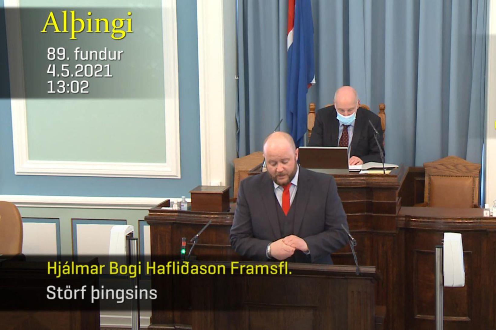 Hjálmar Bogi Hafliðason tók fyrstu til máls um störf þingsins …