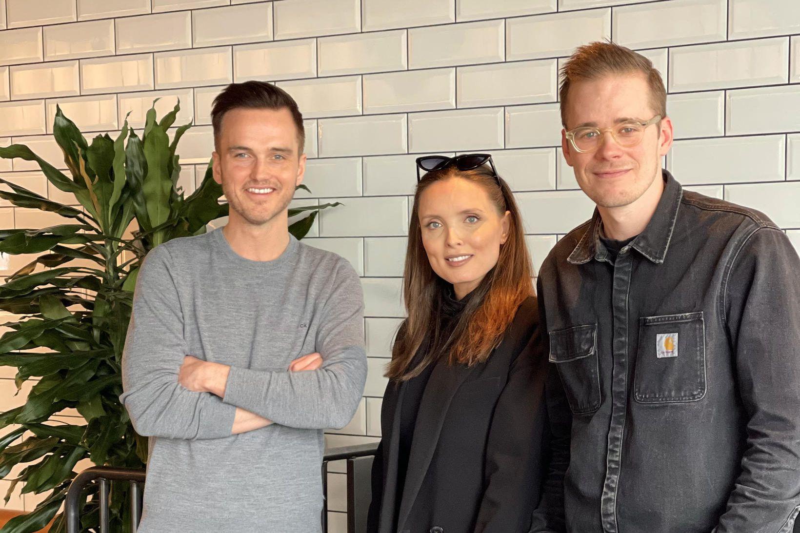 Björn Bragi ásamt þeim Karítas og Hafsteini hjá HAF Studio.