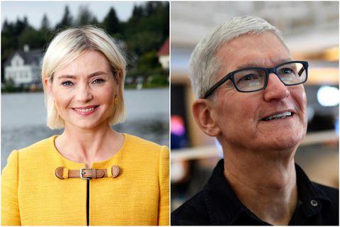 Education Minister Lilja Alfreðsdóttir and Tim Cook, CEO of Apple.