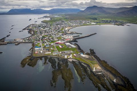 The small town of Akranes in Iceland.
