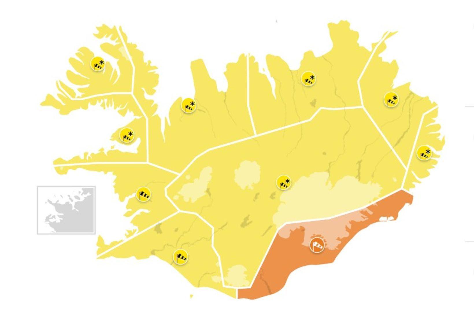 Gul viðvörun gildir um allt land, nema á Suðausturlandi. Þar …