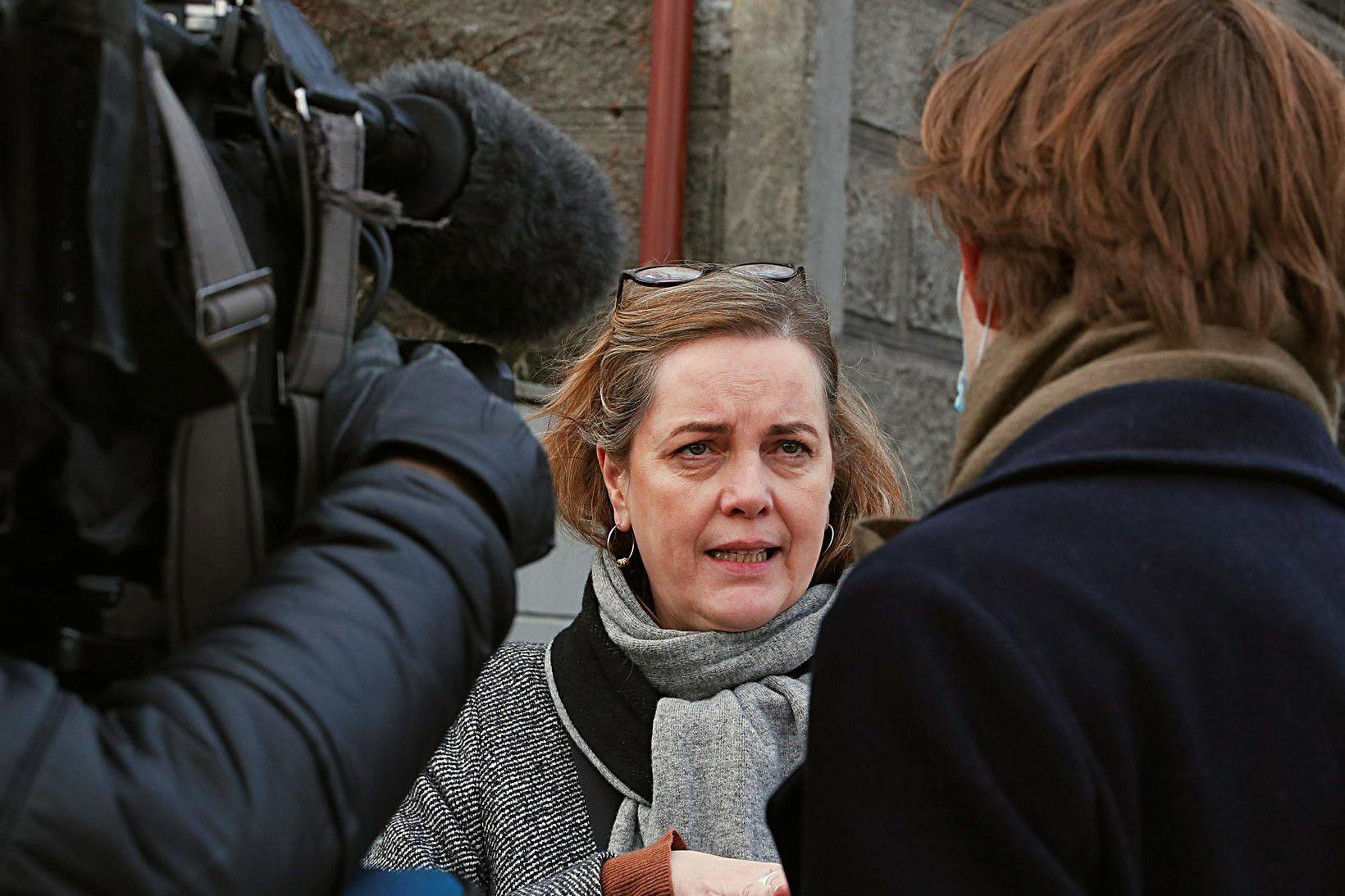 Svandís Svavarsdóttir að loknum fundinum í morgun.