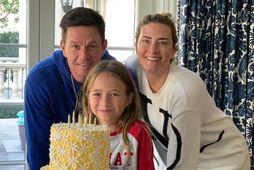 Mark Wahlberg, Grace og Rhea Durham á afmælisdag stúlkunnar í janúar.