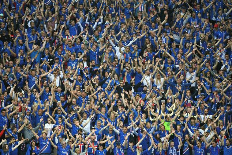 Icelandic soccer fans in France, 2016.