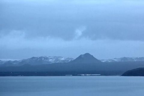 A video camera is pointed at Keilir mountain.