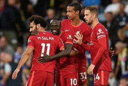 Mohamed Salah og Sadio Mané voru báðir á skotskónum í dag.