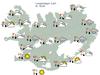 Veðurhorfur á landinu á laugardag klukkan 12:00.