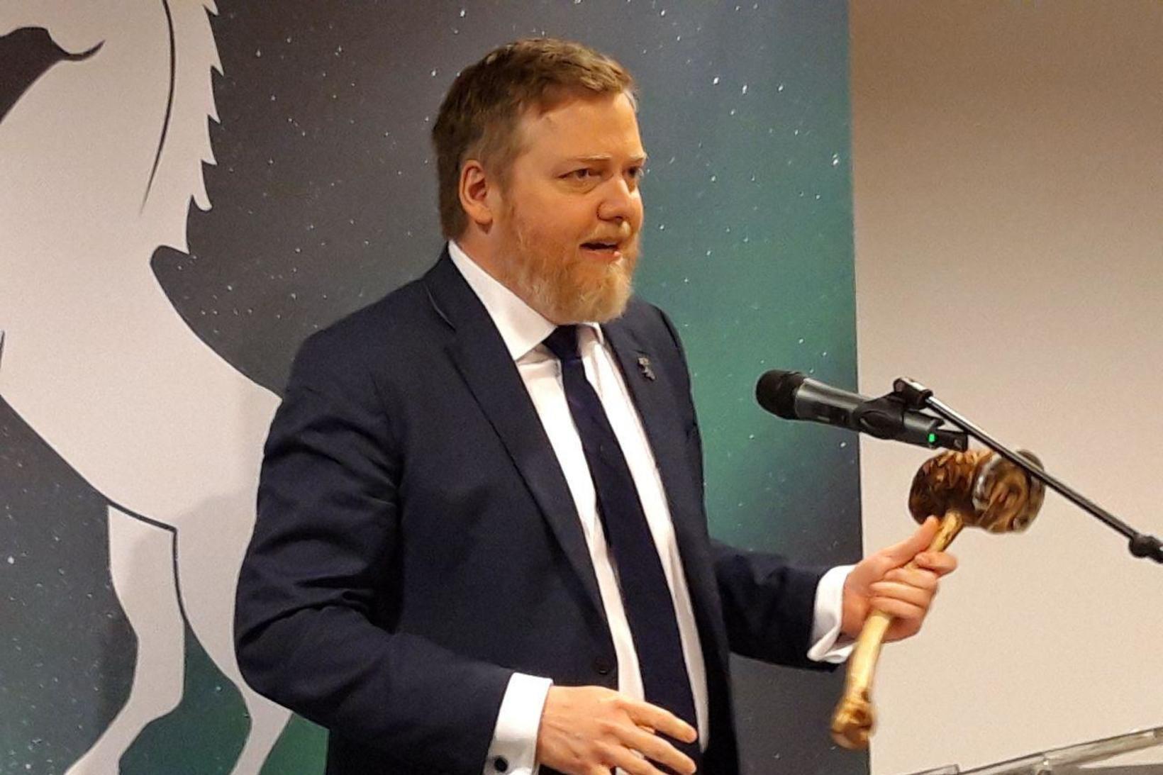 Sigmundur Davíð Gunnlaugsson, formaður Miðflokksins, á fundinum í dag.