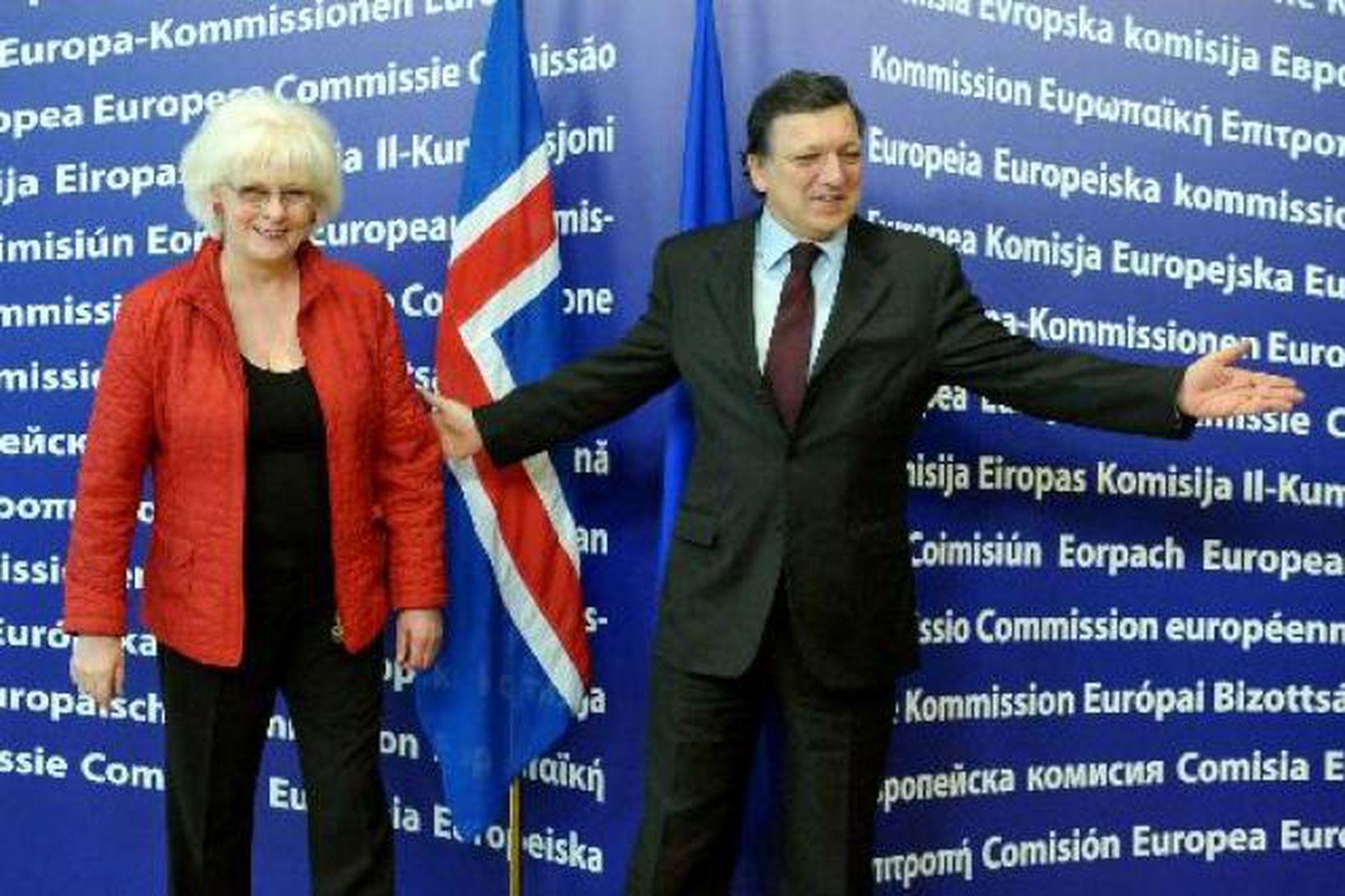 Jóhanna Sigurðardóttir forsætisráðherra og José Manuel Barroso, forseta framkvæmdastjórnar ESB.