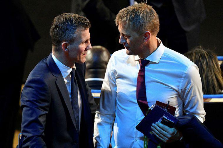 Natonal team coach Heimir Hallgrímsson and leader of the Iceland football union, KSÍ in the ...