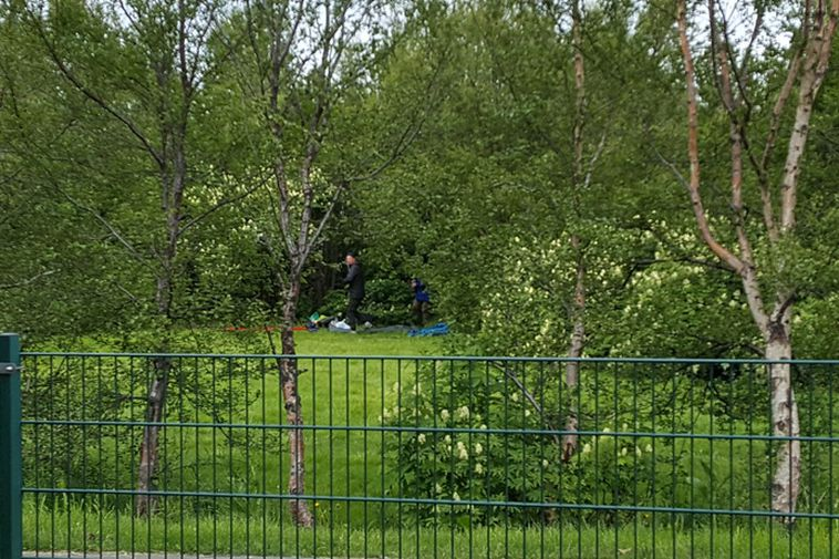 The tourists pitched up a tent right next to the playschool, where children from 2- ...